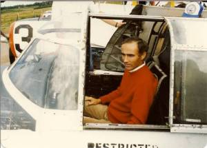 Barrie MacLeod in the cockpit of C-FKCM at YFC (Fredericton) on 23 August 1985.