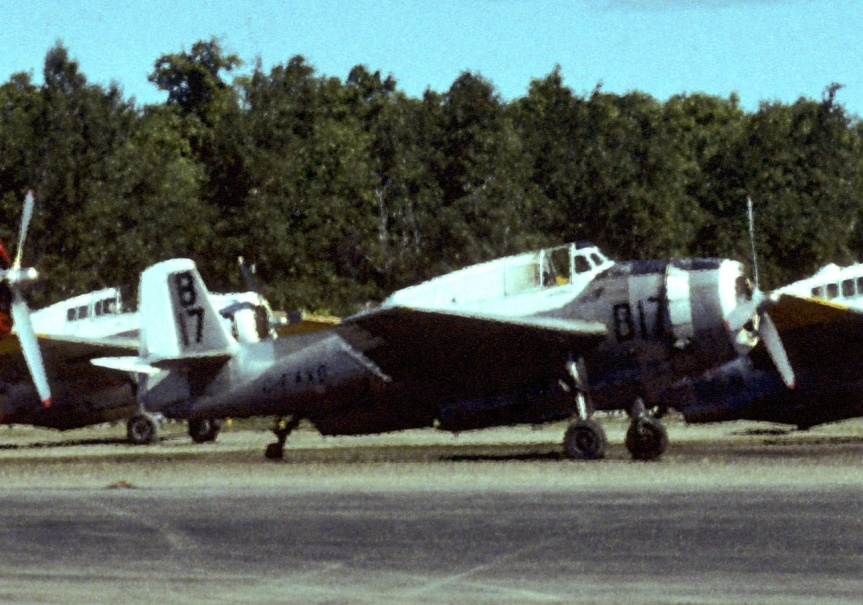 TBMs lined up at Boston Brook NB, Jun 1977 (Norfolk B17-20, ?18, Conair 608?)