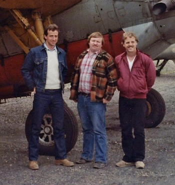 John Brechin, Bob McKinnon and B. Leblanc, Tiger Team, Sevogle, NB, 1982.
