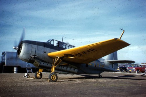 Old kodachrome pix by Stew Faulkner of Grumman TBM-3 Avenger, CF-KYA, Wetaskwin, Alberta. Posted to Firebombers (fb) by Brad MacKay, 12 May 2014. The company lettering is yellow.