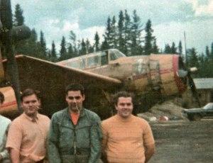 Pink Rabbit Team, Juniper, NB, 1970. L to R: Claude Marcoux (Lead TBM pilot), John Lavigne (#3 TBM pilot), Berry Paton (#2 TBM pilot) in front of Maritime AS TBM#911 FXON, with MAS #900 FXOM in back.