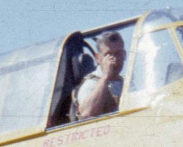 Pilot RalphResnick in Skyway/Ball-Ralston TBM N7026C, Port Hardy, BC, 1957.