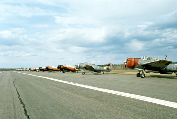 A long row of TBMs at Blissville, May 1976.