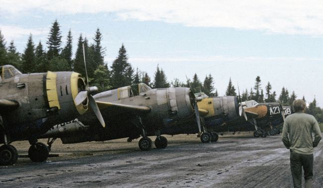 Parked TBMs at Sevogle, NB, 1972: #11 N4171A, #22 N7032C (will become GFPS), Reeder #58 N4168A, Miramichi Air Service #A23 FZTS, and Miramichi Air Service #A18 FZTR. Pilot Kenny Owen is walking at right. [Merrill McBride collection]