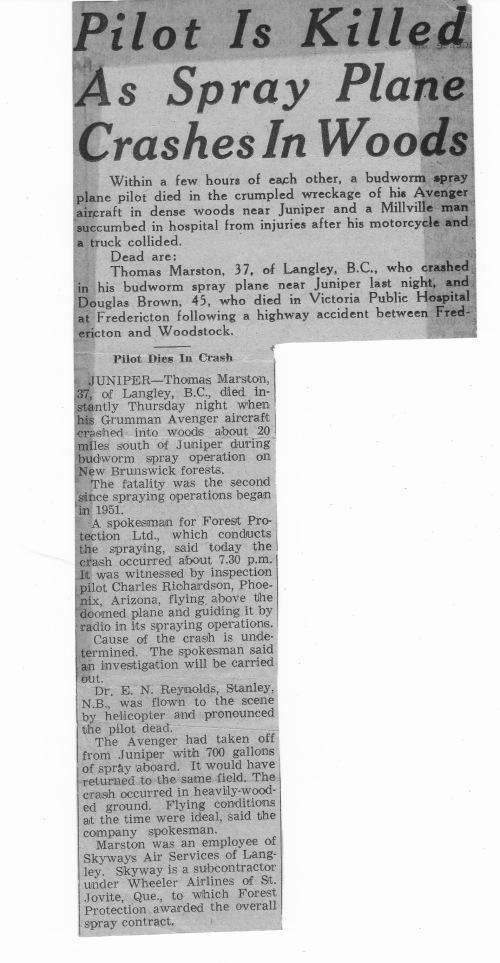 Tommy Marston article 1958 - TWilson