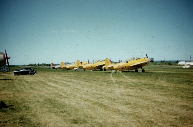 Wheeler (yellow) and Skyway Avengers at Fredericton Airport, 1958.