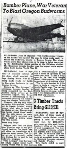 A newspaper account regarding N7922A's purchase and conversion to an air tanker
