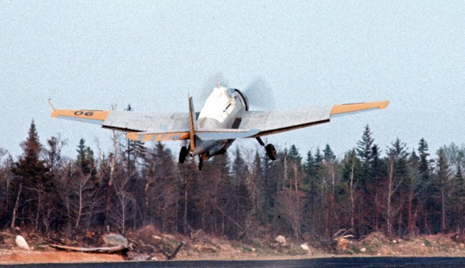 Likely Evergreen #506, FIMW, taking off from Sevogle NB, 1974. Dave Ray image.