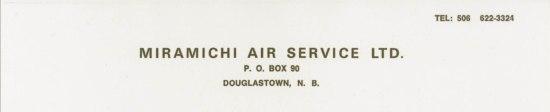 Miramichi Airlines letterhead 1971