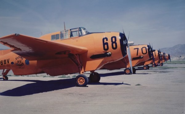 Hemet Valley Flying Service lineup, Hemet Ca., 1965, Photo courtesy of the Steve Whitby Collection Posted by ? Stein (Lt51506), Mar 2011 to Airtanker Memories, WIX.